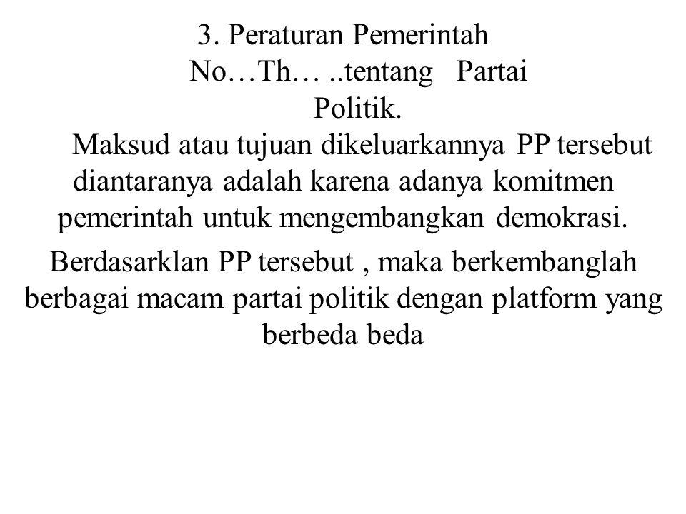 3. Peraturan Pemerintah No…Th…. tentang Partai Politik