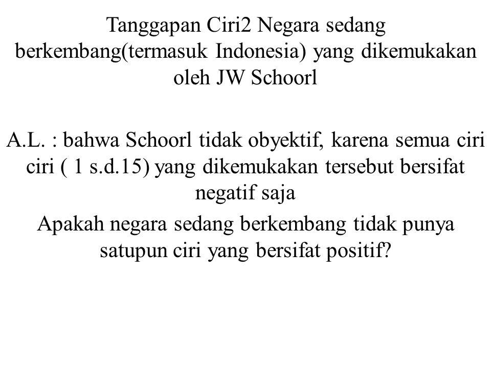 Tanggapan Ciri2 Negara sedang berkembang(termasuk Indonesia) yang dikemukakan oleh JW Schoorl