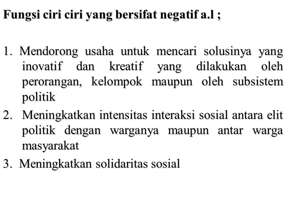 Fungsi ciri ciri yang bersifat negatif a.l ;
