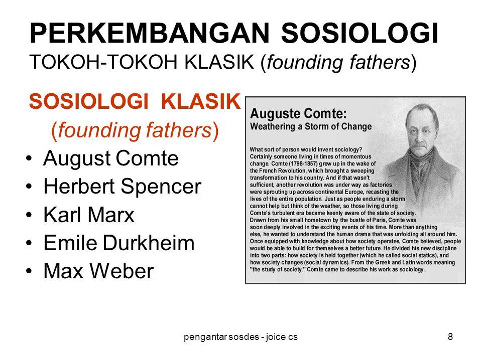 PERKEMBANGAN SOSIOLOGI TOKOH-TOKOH KLASIK (founding fathers)