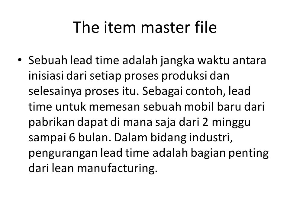 The item master file