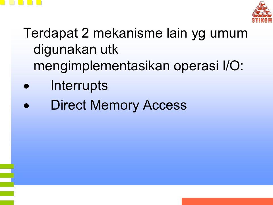 Terdapat 2 mekanisme lain yg umum digunakan utk mengimplementasikan operasi I/O: