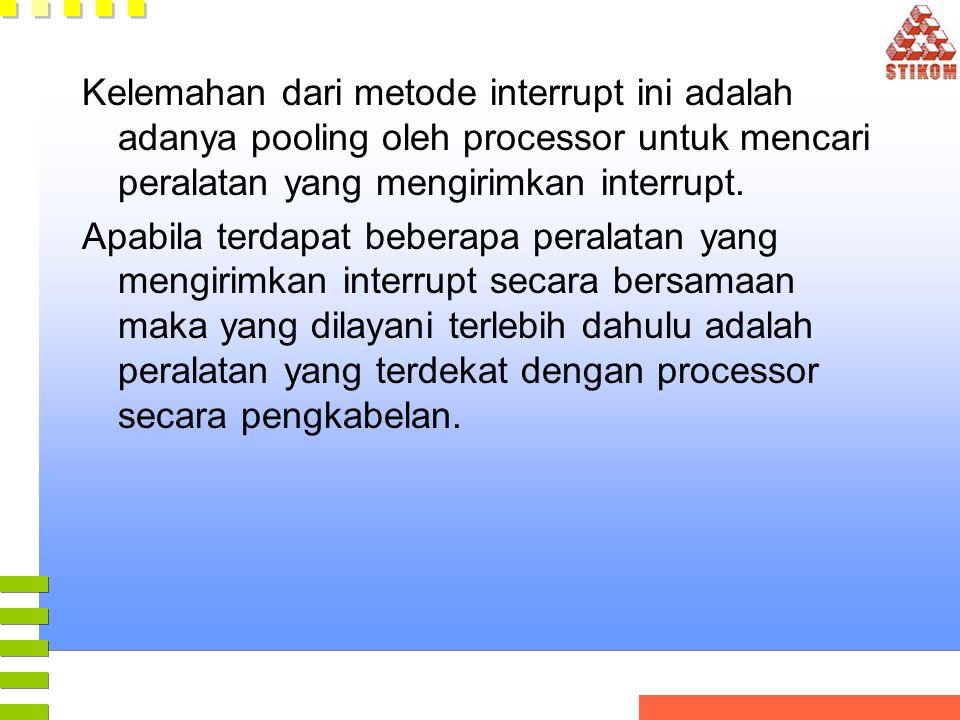 Kelemahan dari metode interrupt ini adalah adanya pooling oleh processor untuk mencari peralatan yang mengirimkan interrupt.