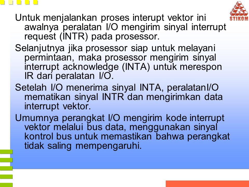 Untuk menjalankan proses interupt vektor ini awalnya peralatan I/O mengirim sinyal interrupt request (INTR) pada prosessor.