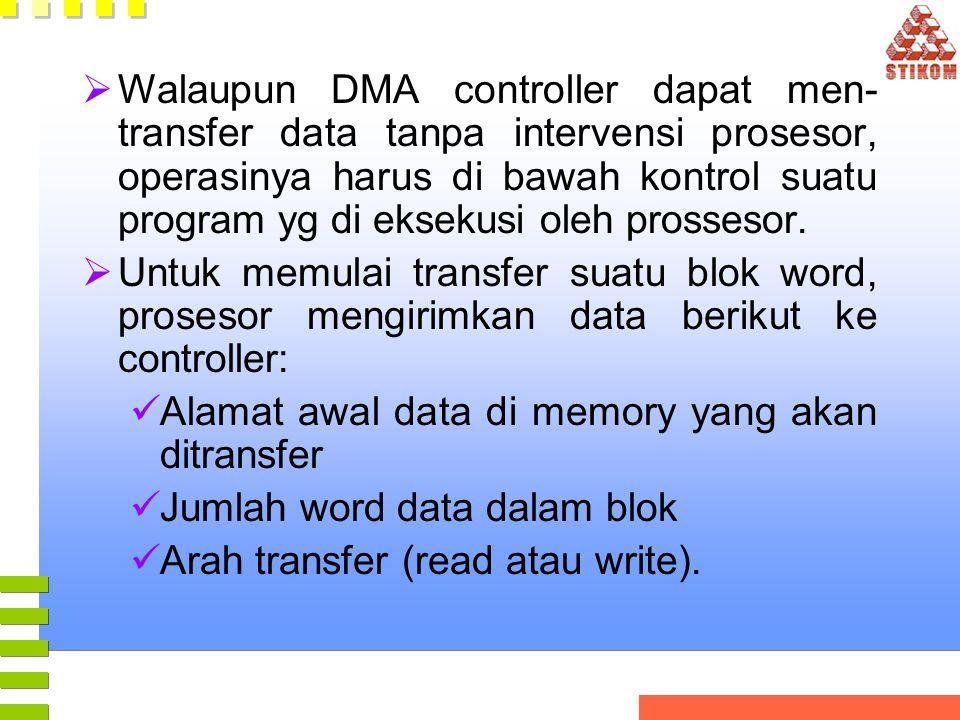 Walaupun DMA controller dapat men-transfer data tanpa intervensi prosesor, operasinya harus di bawah kontrol suatu program yg di eksekusi oleh prossesor.