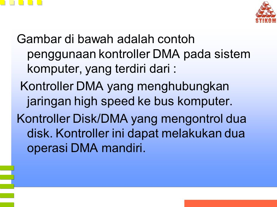 Gambar di bawah adalah contoh penggunaan kontroller DMA pada sistem komputer, yang terdiri dari :