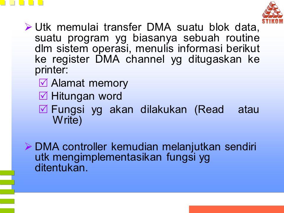 Utk memulai transfer DMA suatu blok data, suatu program yg biasanya sebuah routine dlm sistem operasi, menulis informasi berikut ke register DMA channel yg ditugaskan ke printer: