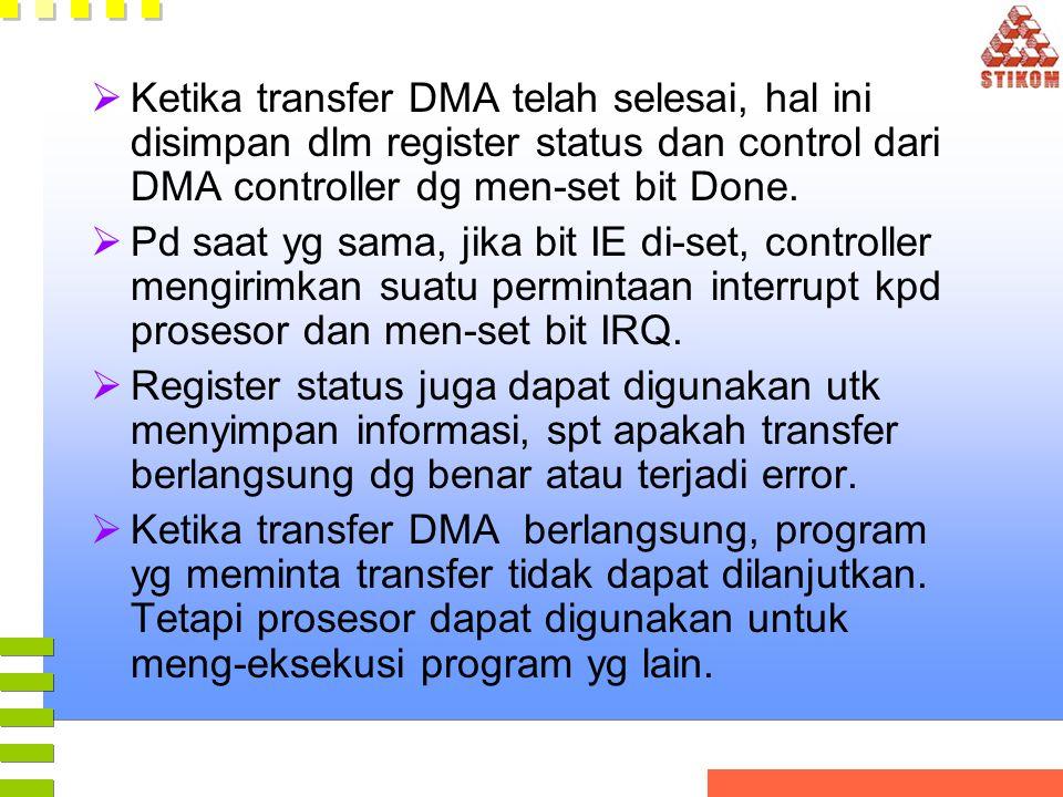 Ketika transfer DMA telah selesai, hal ini disimpan dlm register status dan control dari DMA controller dg men-set bit Done.