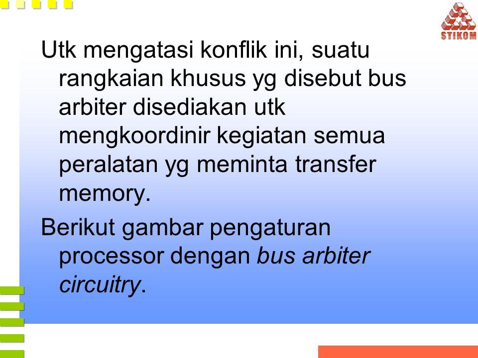 Utk mengatasi konflik ini, suatu rangkaian khusus yg disebut bus arbiter disediakan utk mengkoordinir kegiatan semua peralatan yg meminta transfer memory.