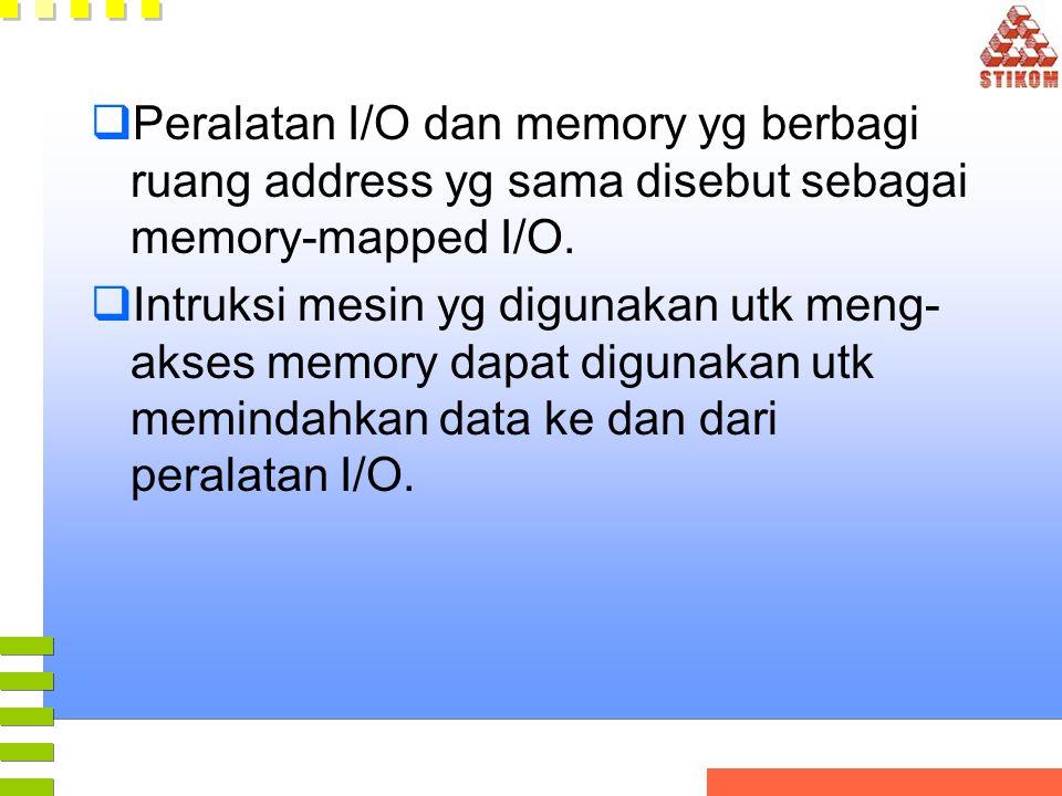 Peralatan I/O dan memory yg berbagi ruang address yg sama disebut sebagai memory-mapped I/O.