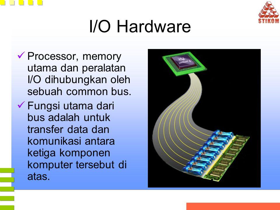 I/O Hardware Processor, memory utama dan peralatan I/O dihubungkan oleh sebuah common bus.