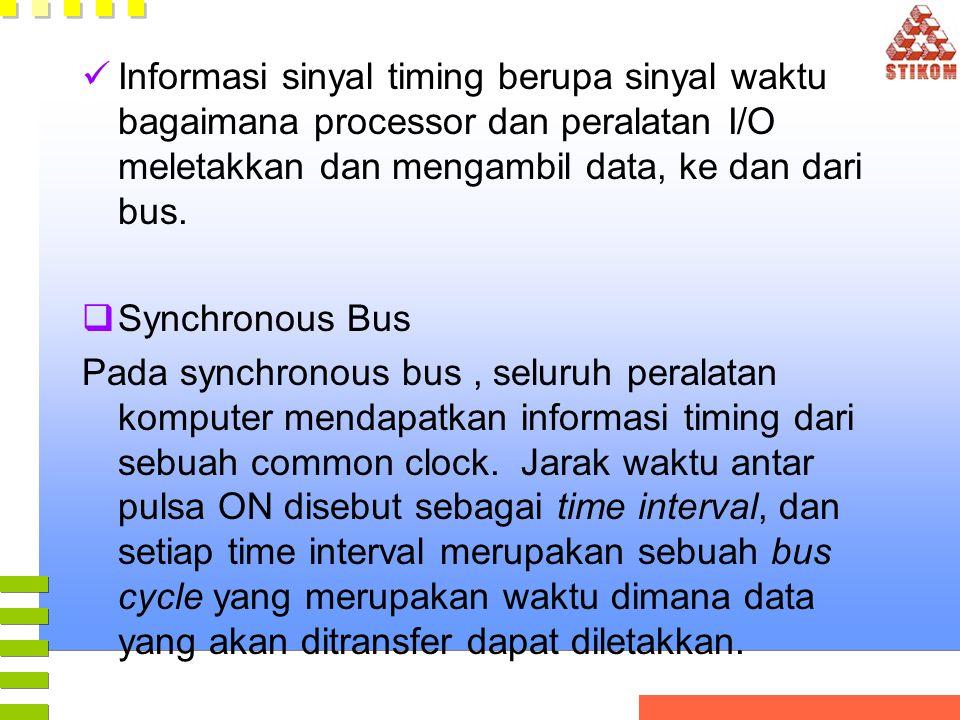 Informasi sinyal timing berupa sinyal waktu bagaimana processor dan peralatan I/O meletakkan dan mengambil data, ke dan dari bus.