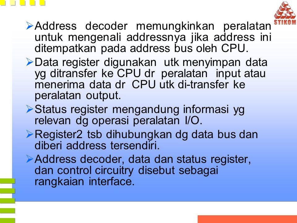 Address decoder memungkinkan peralatan untuk mengenali addressnya jika address ini ditempatkan pada address bus oleh CPU.