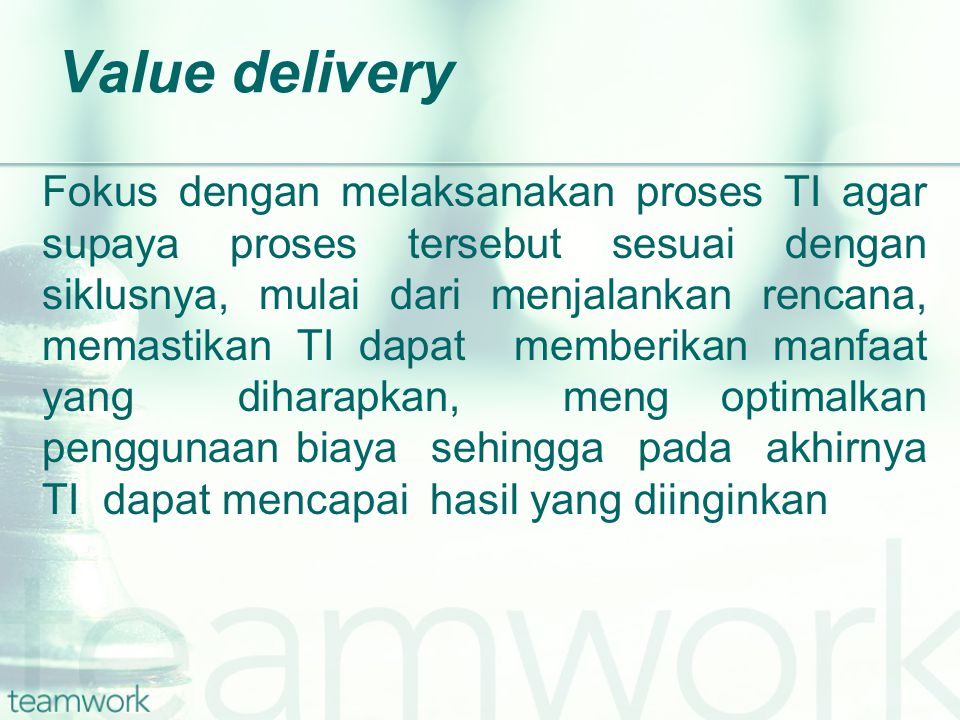 Value delivery