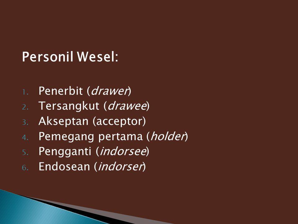 Personil Wesel: Penerbit (drawer) Tersangkut (drawee)