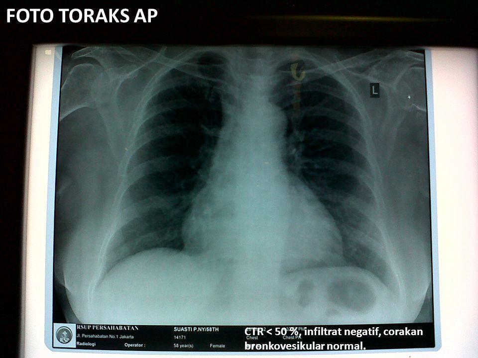 FOTO TORAKS AP CTR < 50 %, infiltrat negatif, corakan bronkovesikular normal.