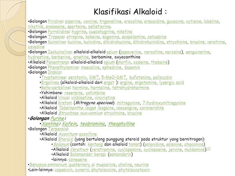 Klasifikasi Alkaloid :