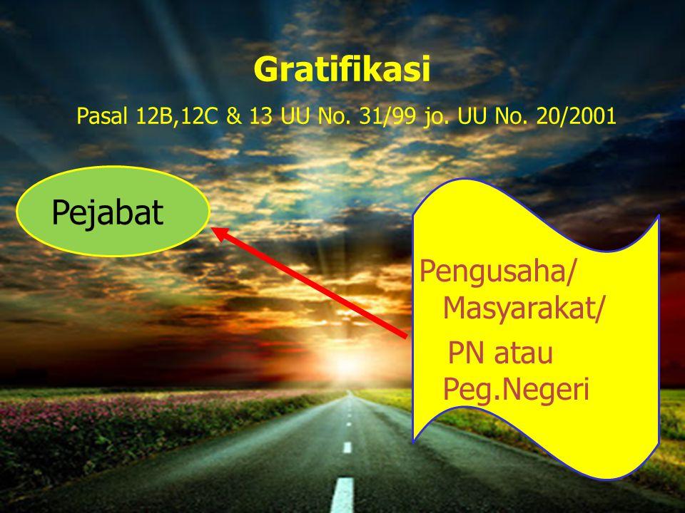 Gratifikasi Pasal 12B,12C & 13 UU No. 31/99 jo. UU No. 20/2001