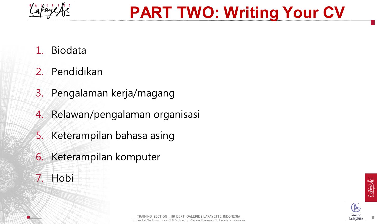 PART TWO: Writing Your CV