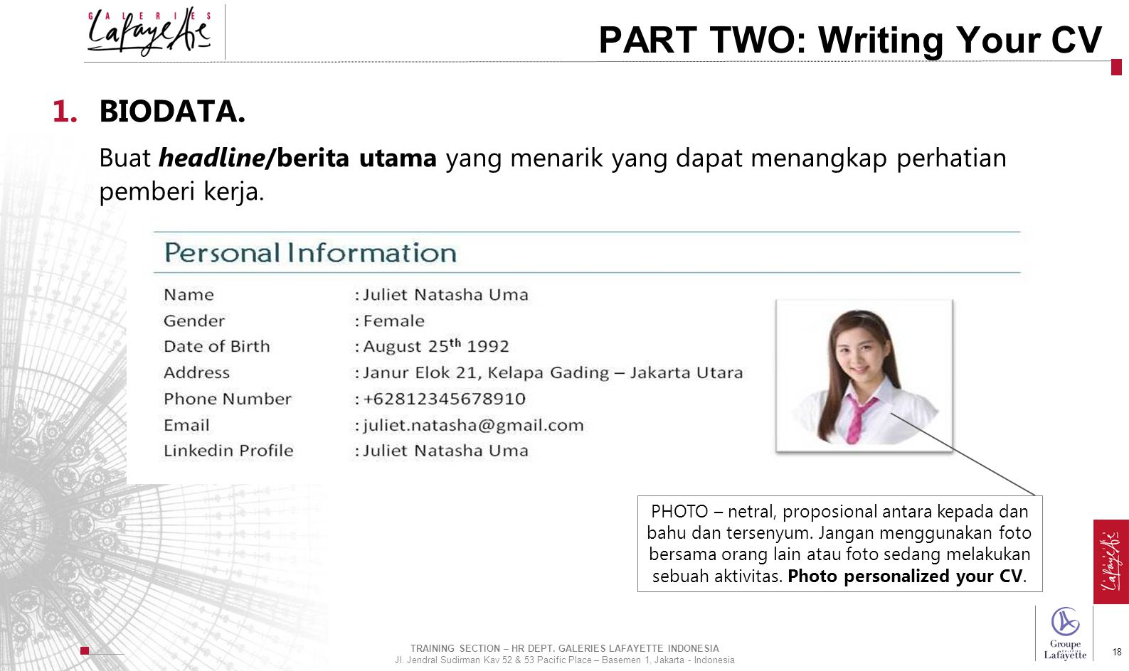 TRAINING SECTION – HR DEPT. GALERIES LAFAYETTE INDONESIA