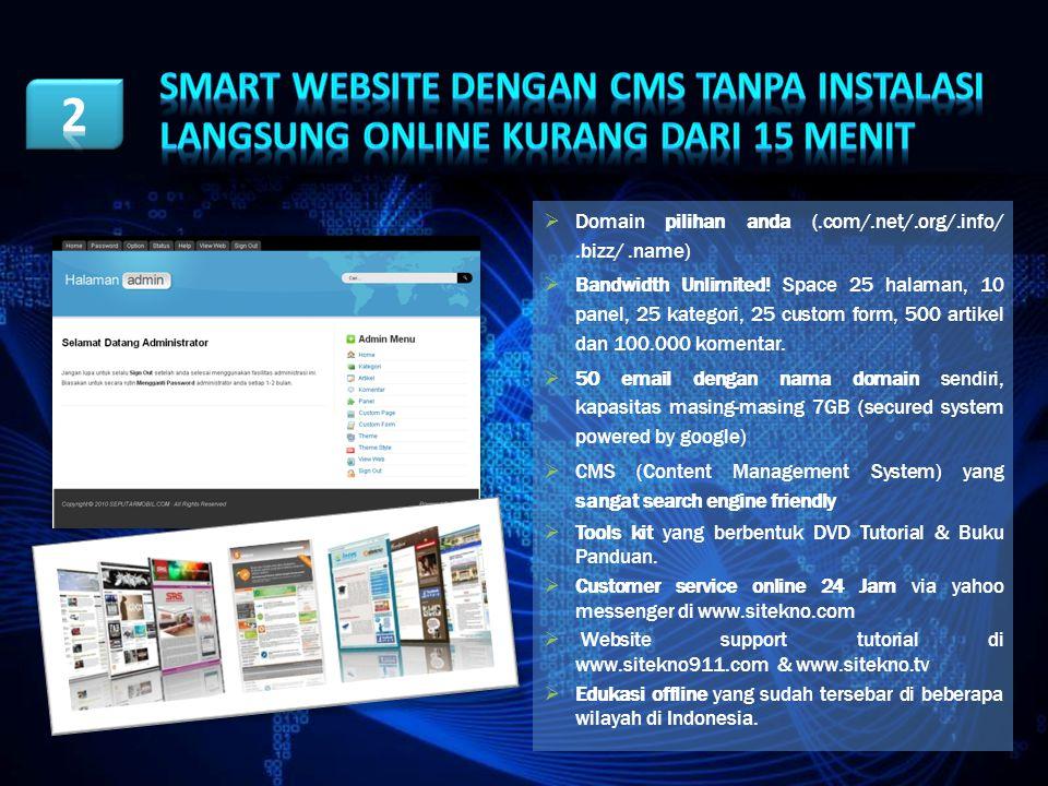 Smart Website Dengan CMS TANPA INSTALASI LANGSUNG ONLINE KURANG DARI 15 MENIT