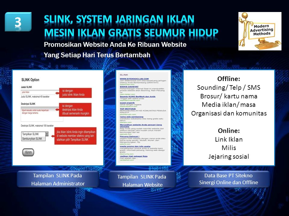 Slink, System Jaringan Iklan MESIN IKLAN GRATIS SEUMUR HIDUP
