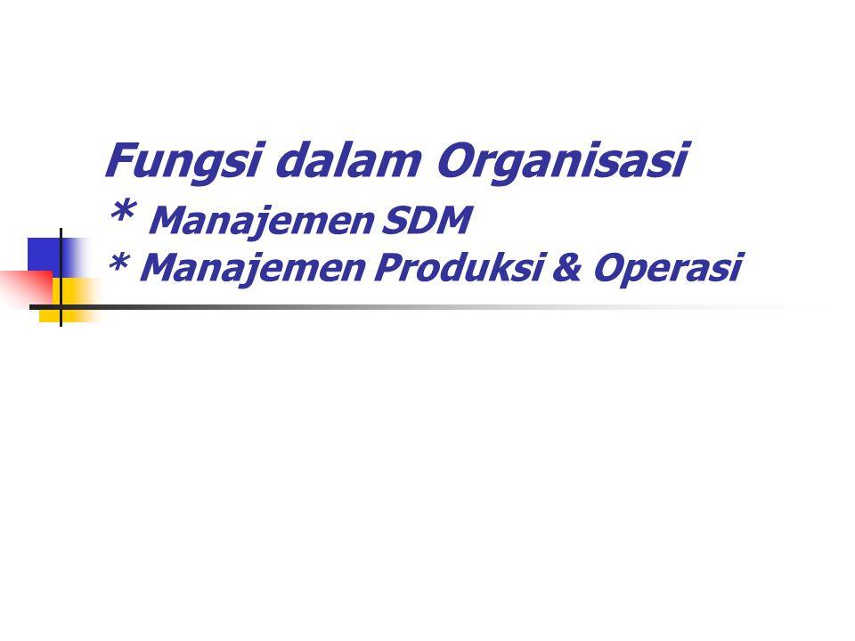 Fungsi dalam Organisasi * Manajemen SDM * Manajemen Produksi & Operasi