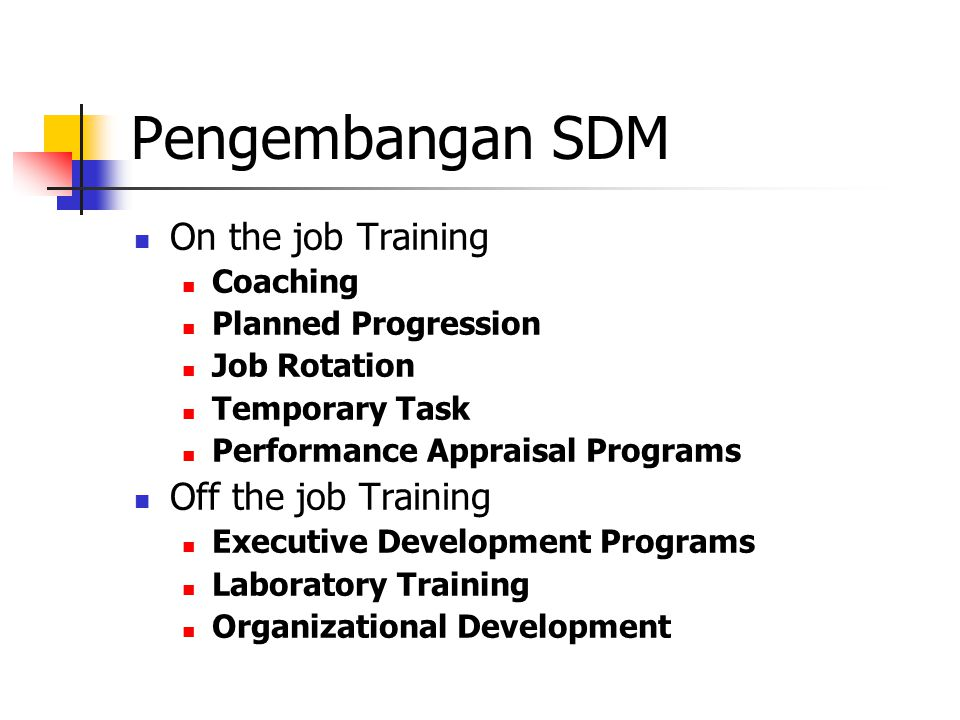 Pengembangan SDM On the job Training Off the job Training Coaching