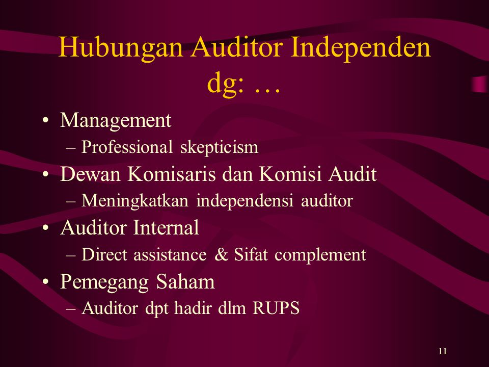Hubungan Auditor Independen dg: …