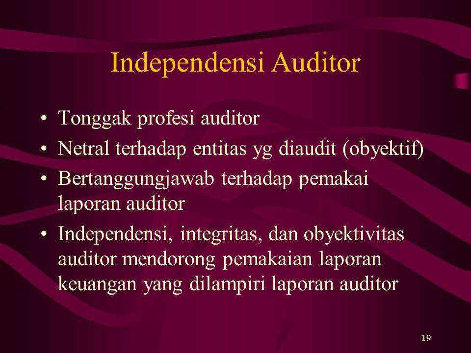 Independensi Auditor Tonggak profesi auditor