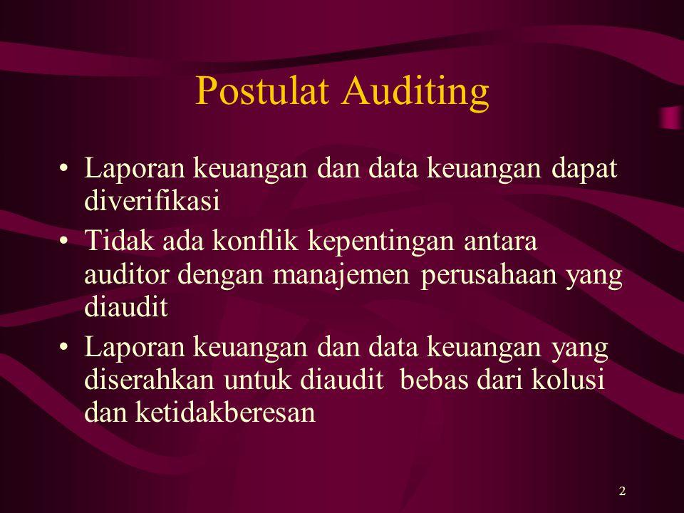 Postulat Auditing Laporan keuangan dan data keuangan dapat diverifikasi.