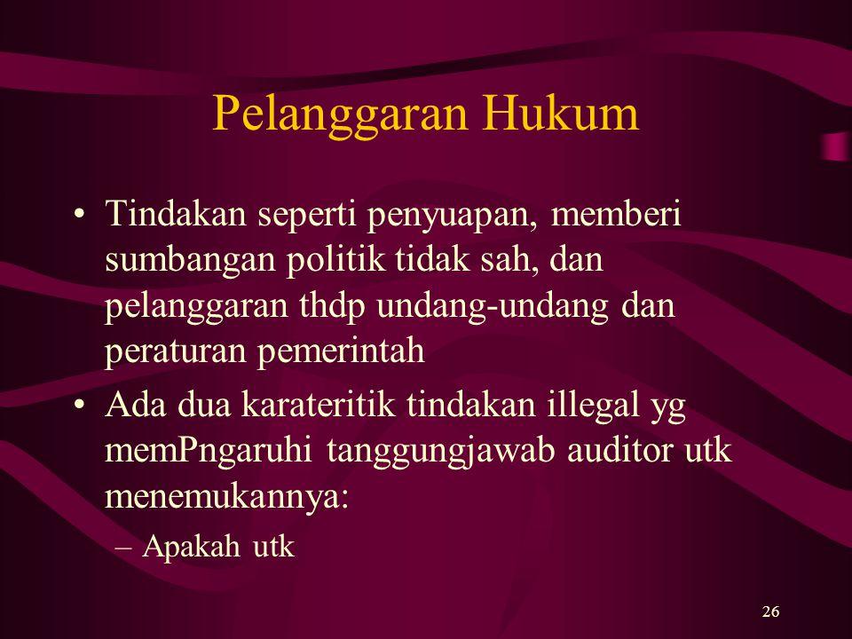 Pelanggaran Hukum Tindakan seperti penyuapan, memberi sumbangan politik tidak sah, dan pelanggaran thdp undang-undang dan peraturan pemerintah.