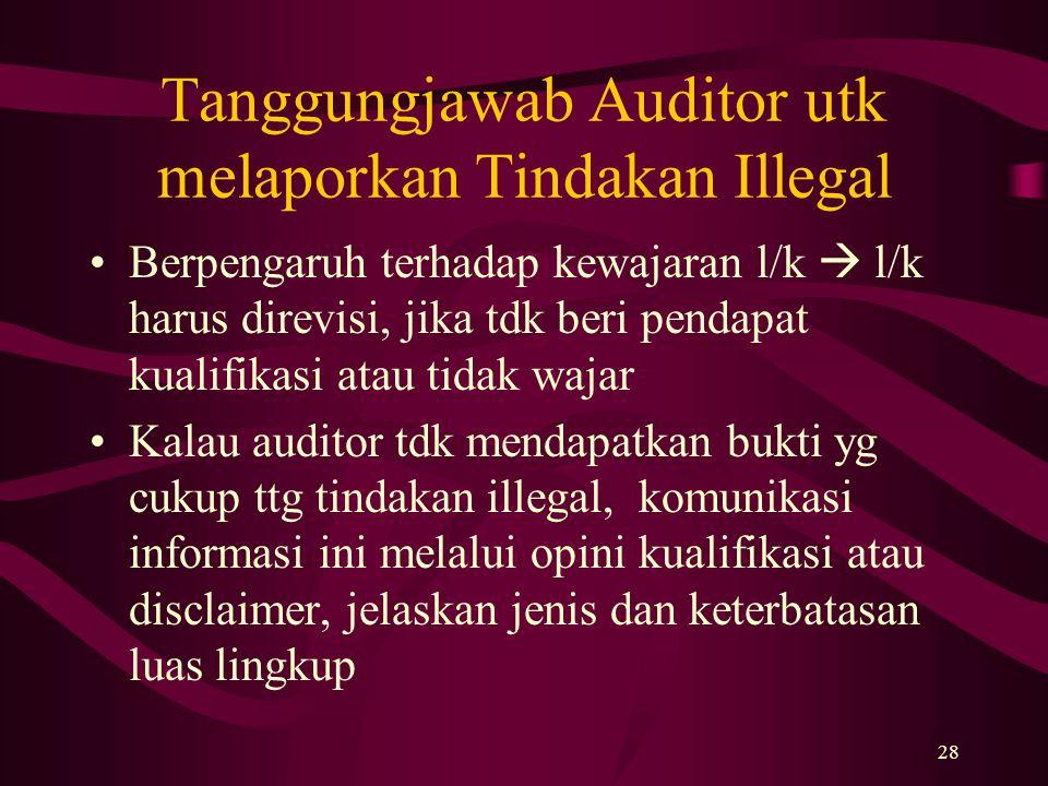 Tanggungjawab Auditor utk melaporkan Tindakan Illegal