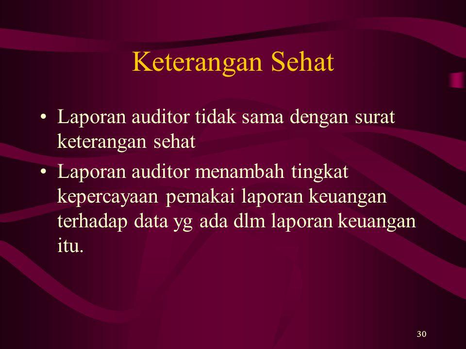 Keterangan Sehat Laporan auditor tidak sama dengan surat keterangan sehat.