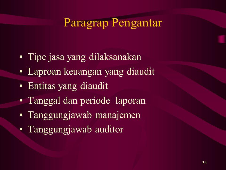 Paragrap Pengantar Tipe jasa yang dilaksanakan