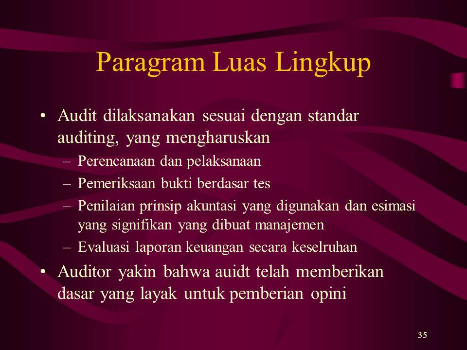 Paragram Luas Lingkup Audit dilaksanakan sesuai dengan standar auditing, yang mengharuskan. Perencanaan dan pelaksanaan.
