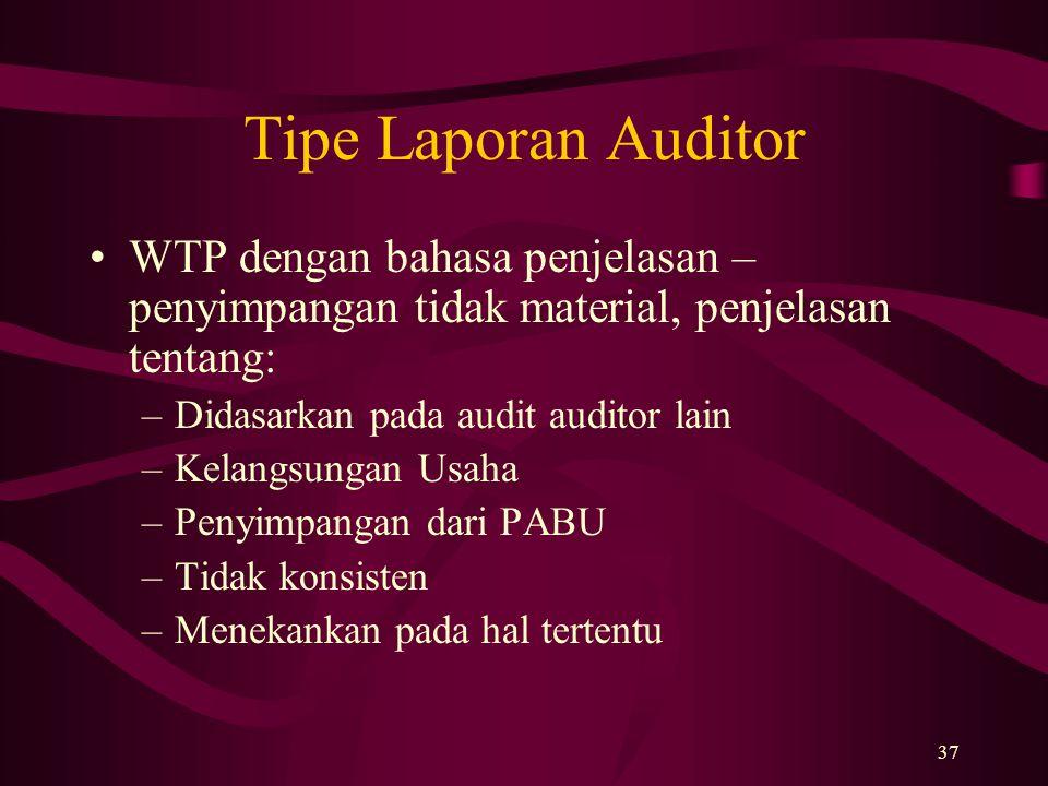 Tipe Laporan Auditor WTP dengan bahasa penjelasan – penyimpangan tidak material, penjelasan tentang: