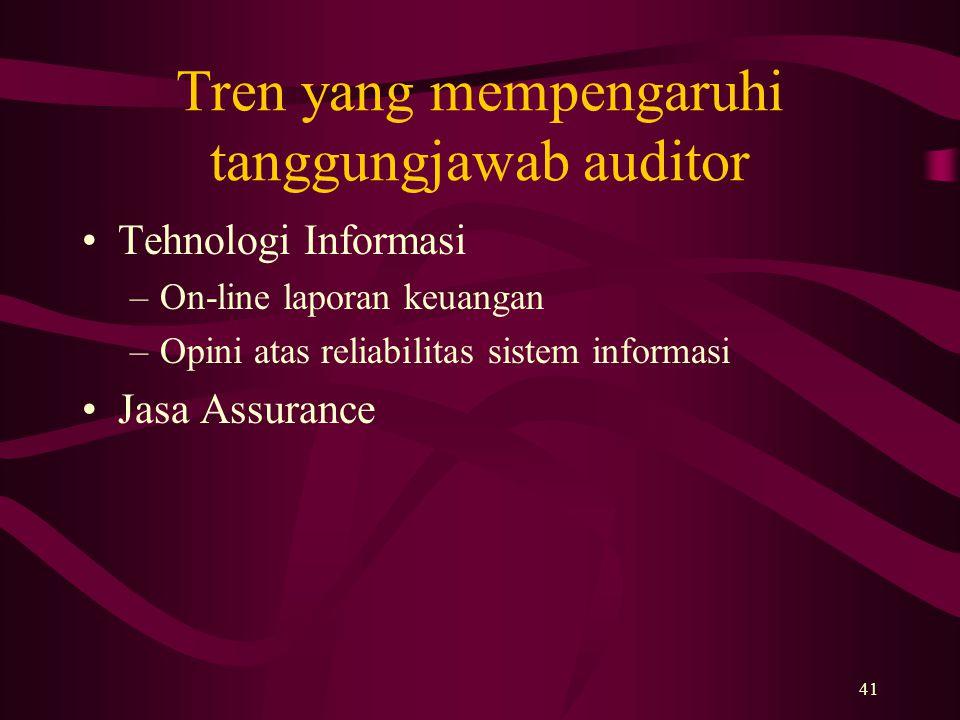 Tren yang mempengaruhi tanggungjawab auditor