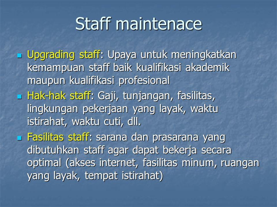 Staff maintenace Upgrading staff: Upaya untuk meningkatkan kemampuan staff baik kualifikasi akademik maupun kualifikasi profesional.