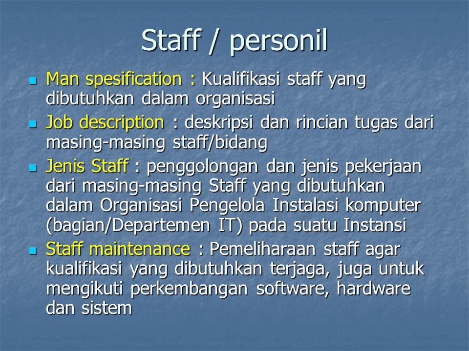 Staff / personil Man spesification : Kualifikasi staff yang dibutuhkan dalam organisasi.