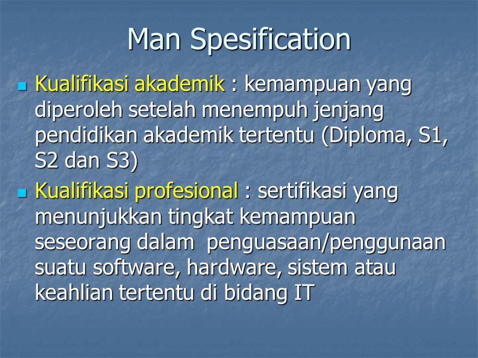 Man Spesification Kualifikasi akademik : kemampuan yang diperoleh setelah menempuh jenjang pendidikan akademik tertentu (Diploma, S1, S2 dan S3)