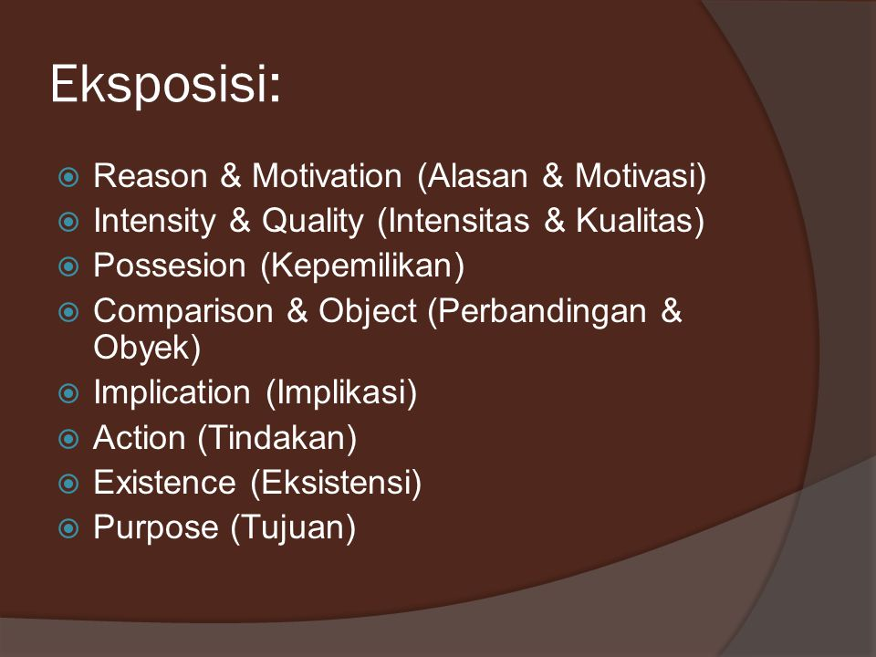 Eksposisi: Reason & Motivation (Alasan & Motivasi)
