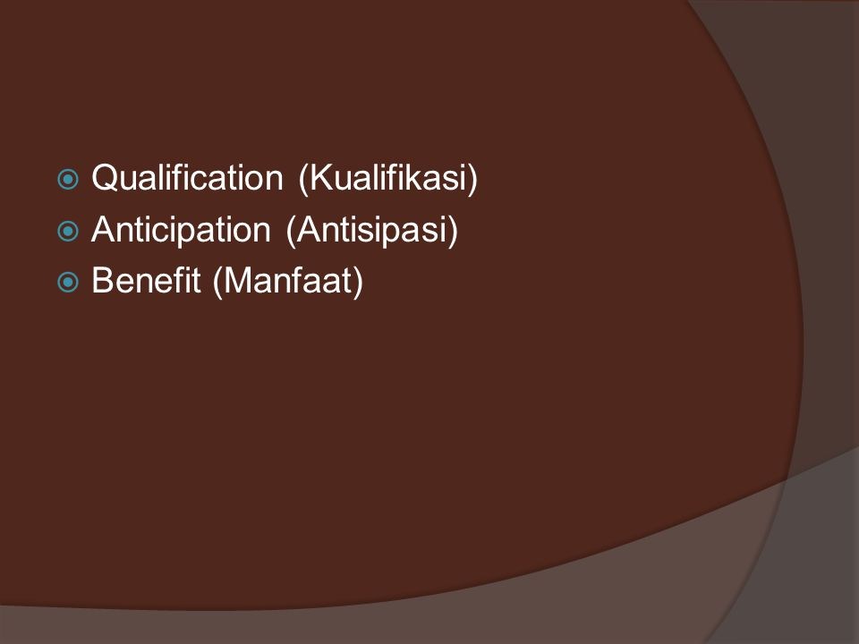 Qualification (Kualifikasi)