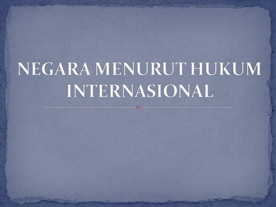 NEGARA MENURUT HUKUM INTERNASIONAL