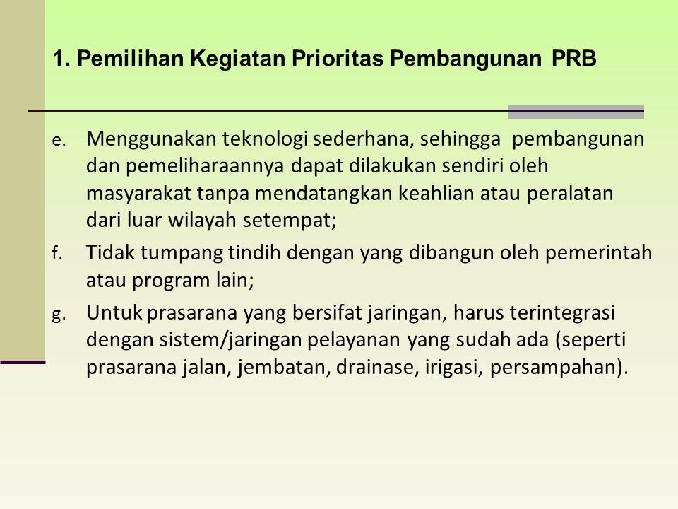 1. Pemilihan Kegiatan Prioritas Pembangunan PRB