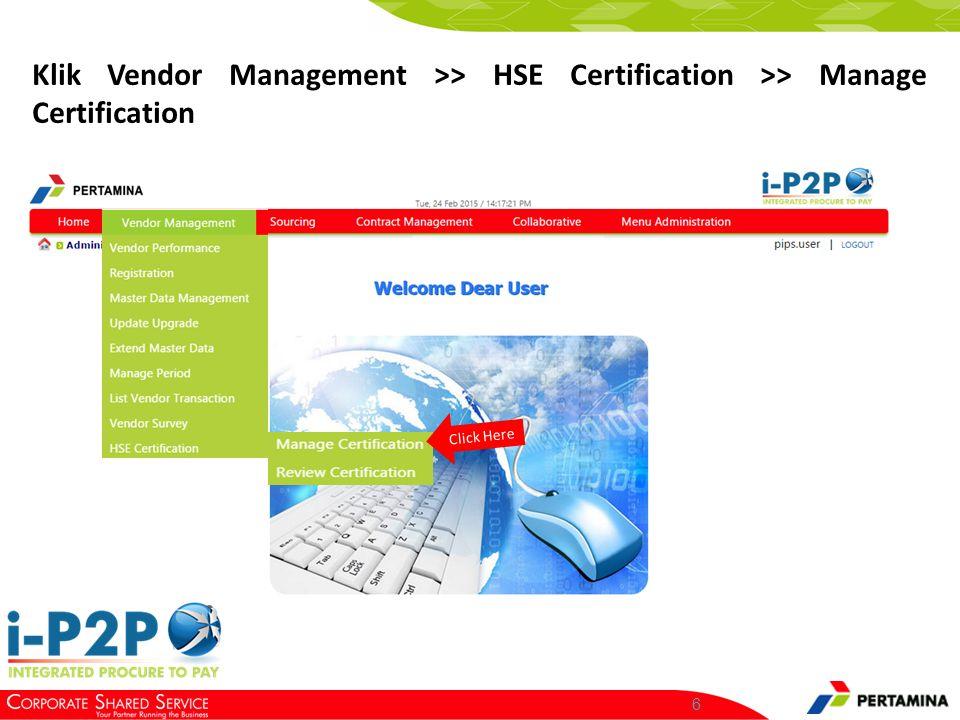 Manage Certification Membuat elemen HSE baru Mengedit kolom tertentu