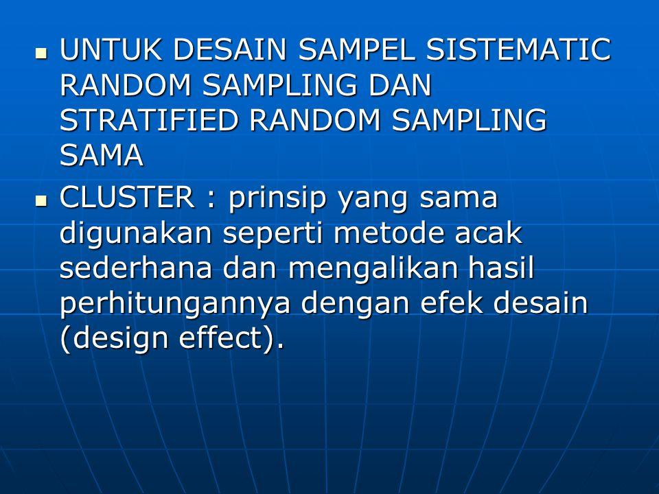 UNTUK DESAIN SAMPEL SISTEMATIC RANDOM SAMPLING DAN STRATIFIED RANDOM SAMPLING SAMA