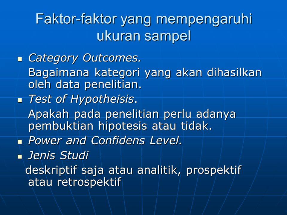 Faktor-faktor yang mempengaruhi ukuran sampel
