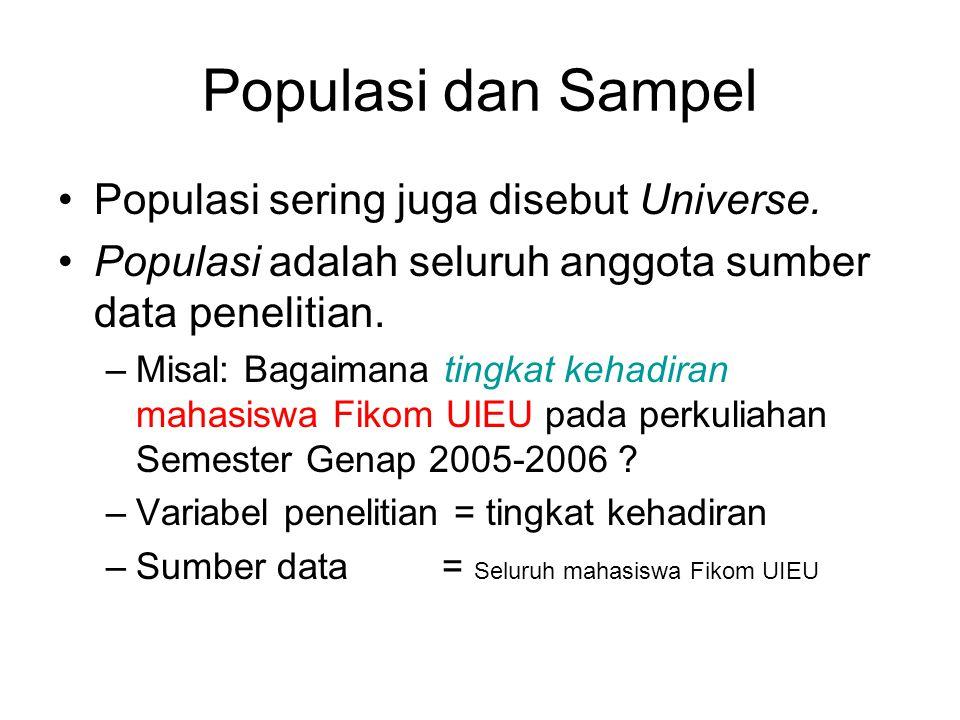 Populasi dan Sampel Populasi sering juga disebut Universe.