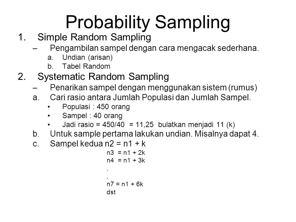 Probability Sampling Simple Random Sampling Systematic Random Sampling